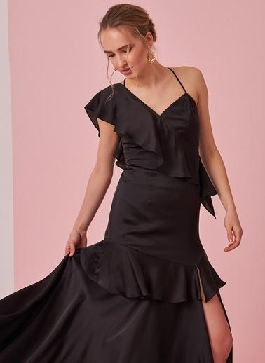 morhipo x dcey Saten Volanlı Elbise Siyah